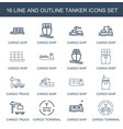 16 tanker icons vector image vector image