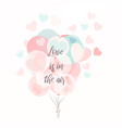 air balloons soft blue and pink colors vector image