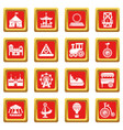 amusement park icons set red square vector image vector image
