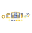 Beach Vacation Symbols Set By Five In Line vector image