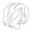 beautyfull girl face continuous line vector image vector image