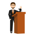businessman in a lectern vector image vector image
