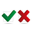 check mark and cross icons 3d vector image vector image