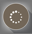 circular loading sign white icon on brown vector image vector image