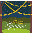 Colorful poster festa junina with nightly
