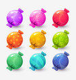 cute cartoon colorful round wrapped candies vector image vector image