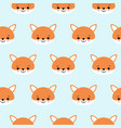 cute foxes seamless pattern orange fox s head on vector image vector image