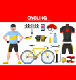 cycling races sport equipment cycler garment vector image