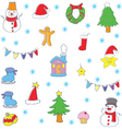 Doodle of color christmas set vector image vector image