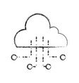 figure cloud data with circuits to connection vector image vector image