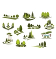 Forest public park and garden landscapes icons vector image vector image