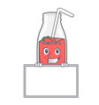 grinning with board strawberry smoothie character vector image vector image