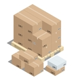 Group of stacked cardboard boxes on wooden pallets vector image vector image