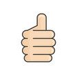 hand thumb up icon flat isolated on white vector image vector image