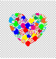 heart icon made of colored hand prints vector image vector image