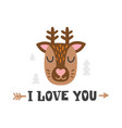 i love you deer head and romantic hand drawn vector image vector image