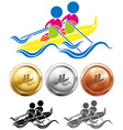 Kayaking icon and sport medals vector image
