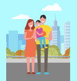 mother father son with ball in hands spend time vector image vector image