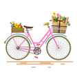 pink bicycle - bike with flowers and vegetables vector image vector image