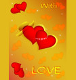 postcard two hearts together with love vector image vector image