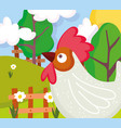 rooster flowers field trees fence farm animal vector image vector image