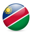 Round glossy icon of namibia vector image