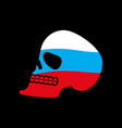 russia skull head of skeleton and russian flag vector image vector image