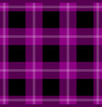 seamless black pink tartan with white stripes vector image vector image