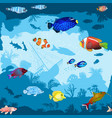 seamless pattern with hand drawn fish and corals vector image vector image