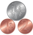Set reverse new Belarusian Money coins vector image