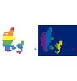 spectrum pixel dotted denmark map vector image vector image