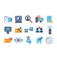 technology data digital multimedia icons set vector image