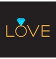 Wedding gold ring with blue diamond word love vector image vector image