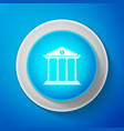 white bank building icon on blue background vector image vector image