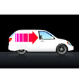 White delivery car with red arrow vector image