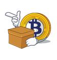 with box bitcoin gold character cartoon vector image vector image