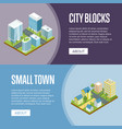 modern city blocks and small town flyers vector image