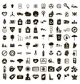 100 eco icons set simple style vector image