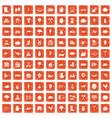 100 farm icons set grunge orange vector image vector image
