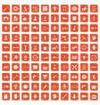 100 gear icons set grunge orange vector image vector image