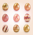 a set of golden eggs with small floral and vector image vector image