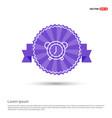alarm clock icon - purple ribbon banner vector image