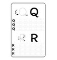 alphabet letters tracing worksheet with alphabet vector image vector image