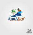 beach surf logo template vector image vector image