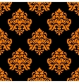 Black and orange seamless floral pattern vector image vector image