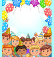 blank holiday banner with balloons and funny kids vector image vector image