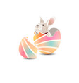 bunny in colorful easter egg vector image