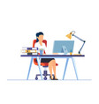 business woman working on computer vector image vector image
