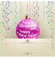 Christmas card and bauble vector image vector image
