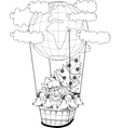 christmas hot air balloon with santa claus vector image vector image